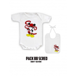 "Pack ""BaBy Scred"" Blanc logo Walt Discrey"