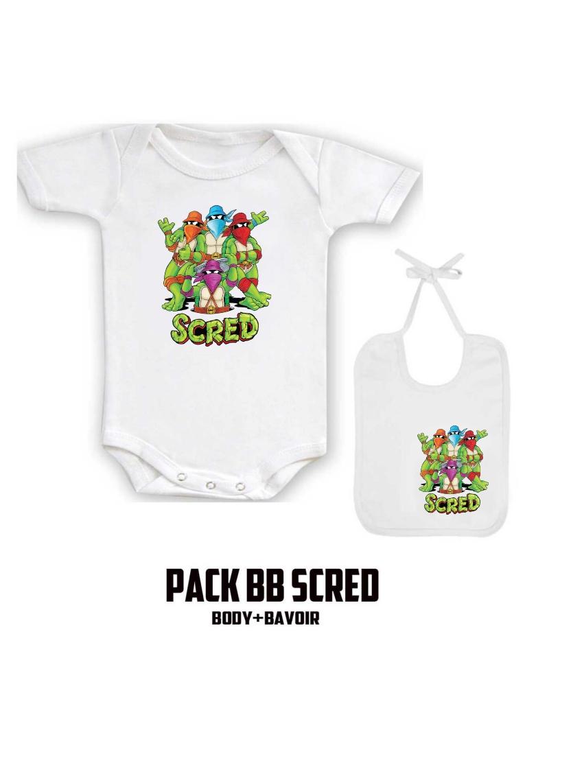 "Pack ""BB Scred"" Blanc logo noir"