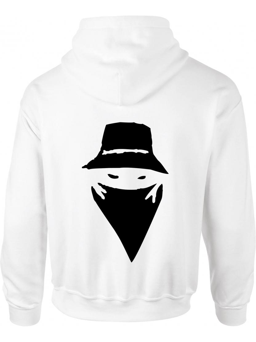 """sweat capuche """"Visage"""" blanc logo noir"""