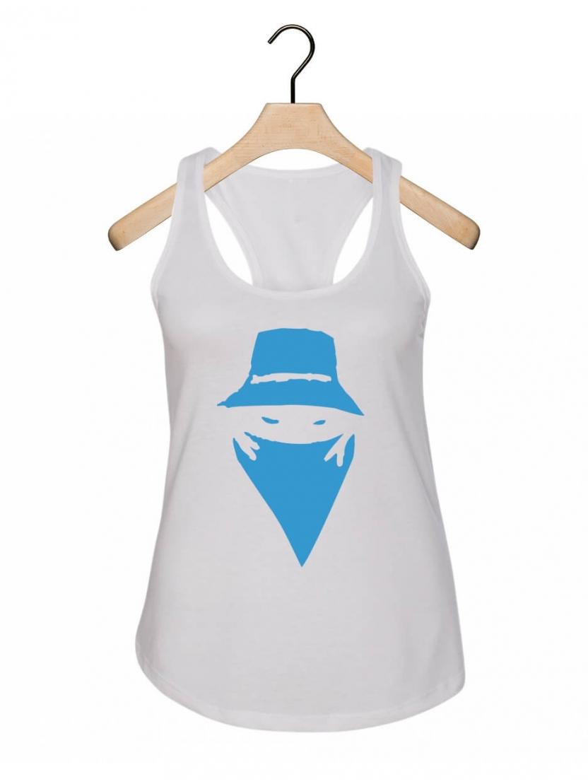 """Debardeur Femme """"Visage"""" blanc logo bleu"""