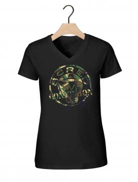 "Tee-shirt femme "" classico vert militaire "" noir"