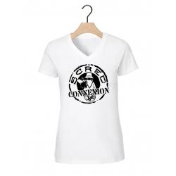 "tee-shirt femme Col V ""classic"" blanc logo noir"