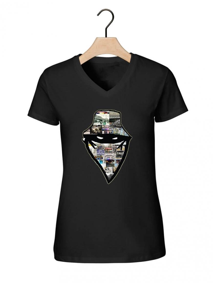 """Tee-shirt femme """"barbes story"""" noir"""