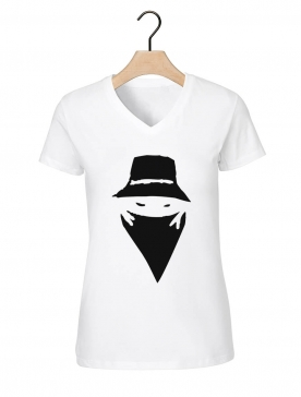 "Tee-shirt femme ""visage"" blanc"