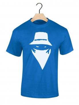 """tee-shirt """"visage"""" bleu"""