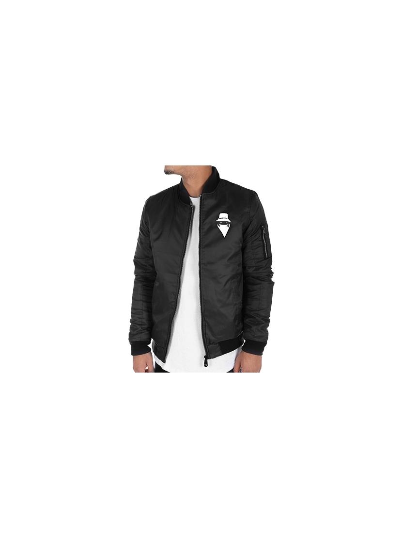 Bombers noir Scred Connexion Visage logo blanc