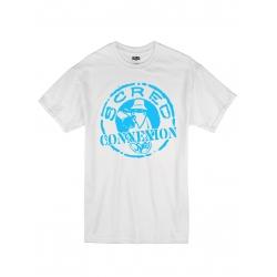 "tee-shirt ""classico"" blanc logo bleu ciel"
