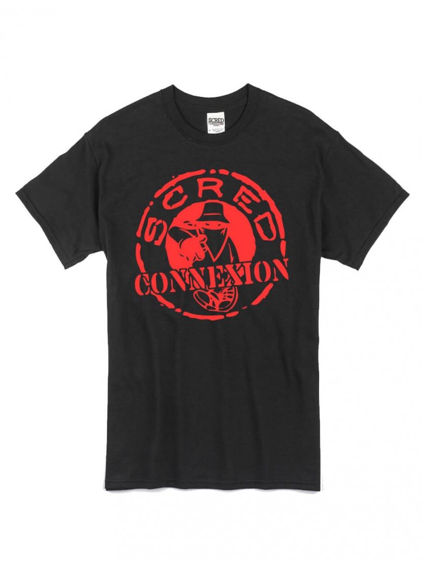 "tee shirt ""classico"" noir logo rouge"
