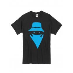 """tee-shirt """"Visage"""" Noir et bleu"""