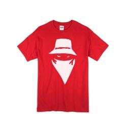 """tee-shirt """"visage"""" rouge logo blanc"""
