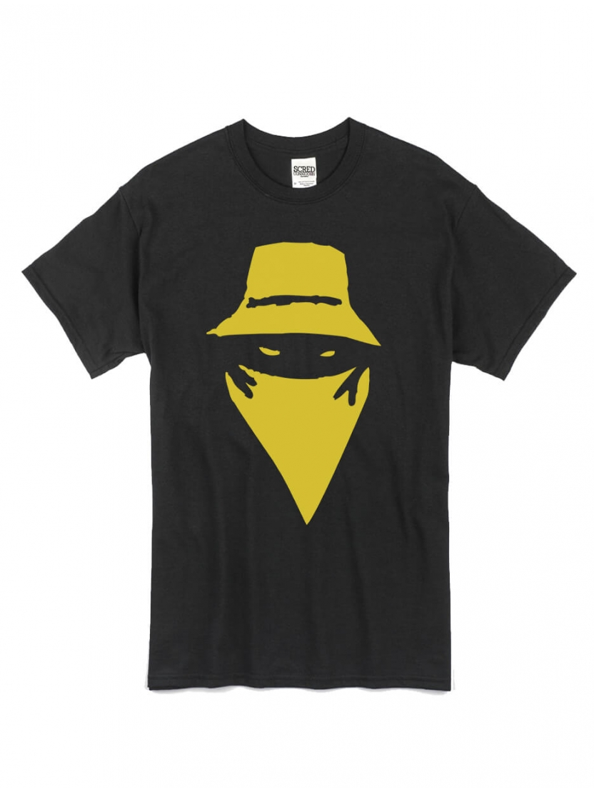 "tee-shirt ""visage"" noir logo or"