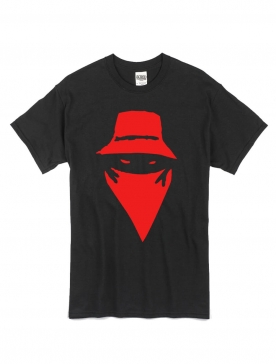 "tee-shirt ""visage"" noir logo rouge"