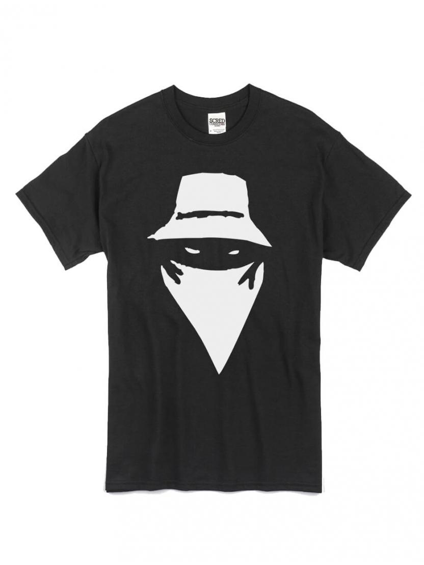 "tee-shirt ""visage"" blanc logo noir"
