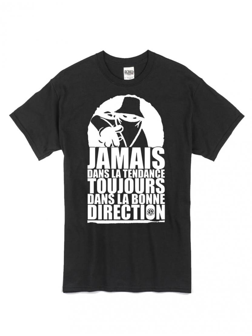 "tee-shirt ""jamais dans la tendance"" noir logo blanc"