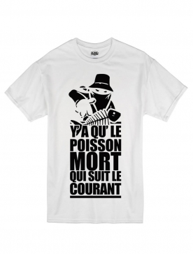 "tee-shirt ""poisson mort "" blanc logo noir"
