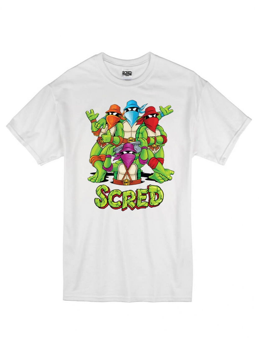 "T-Shirt ""Scred Turtles"" Blanc"