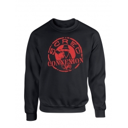 "Sweat Col Rond ""Classico"" Noir logo Rouge Sang"