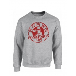"Sweat Col Rond ""Classico"" Gris logo Rouge Sang"