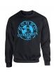 "sweat col rond ""classico"" noir logo bleu"