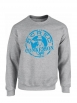 "sweat col rond ""classico"" gris logo bleu"