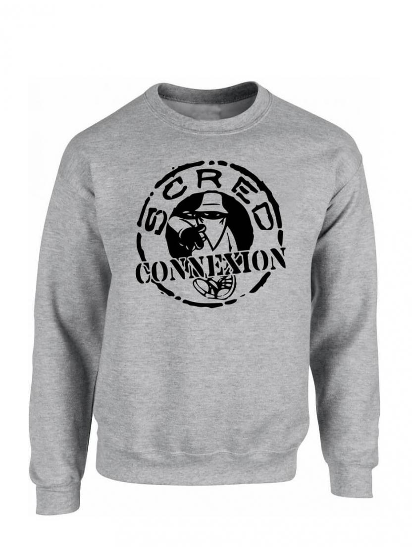 """sweat col rond """"classico"""" gris logo noir"""