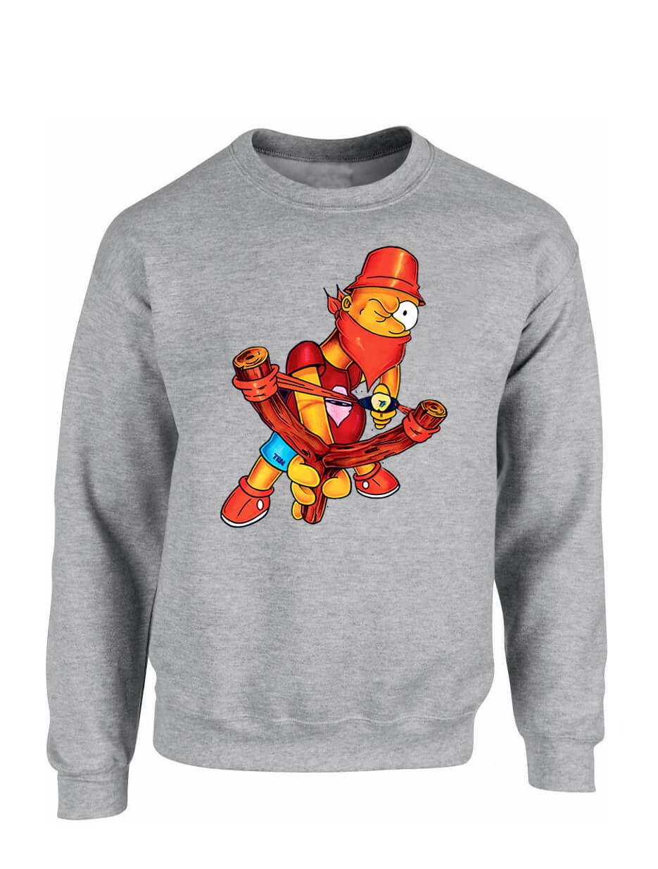 "sweat col rond ""BART"" gris"