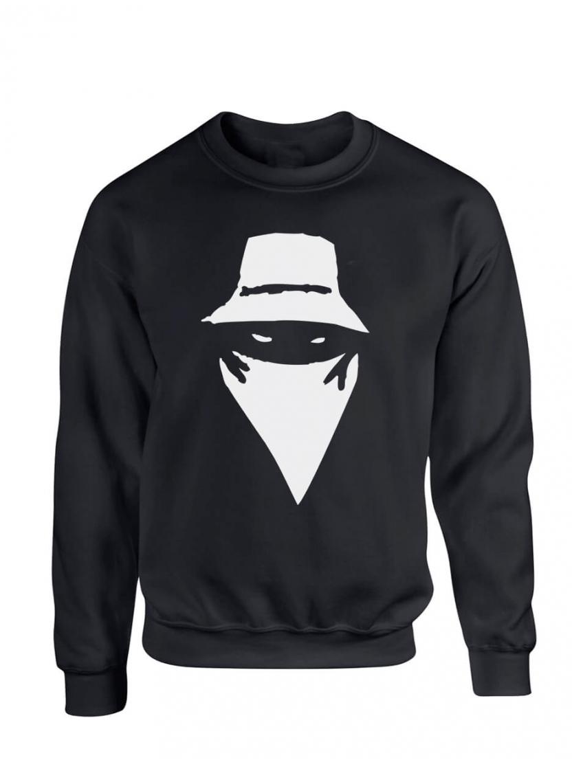 "Sweat col rond ""visage"" noir logo blanc"