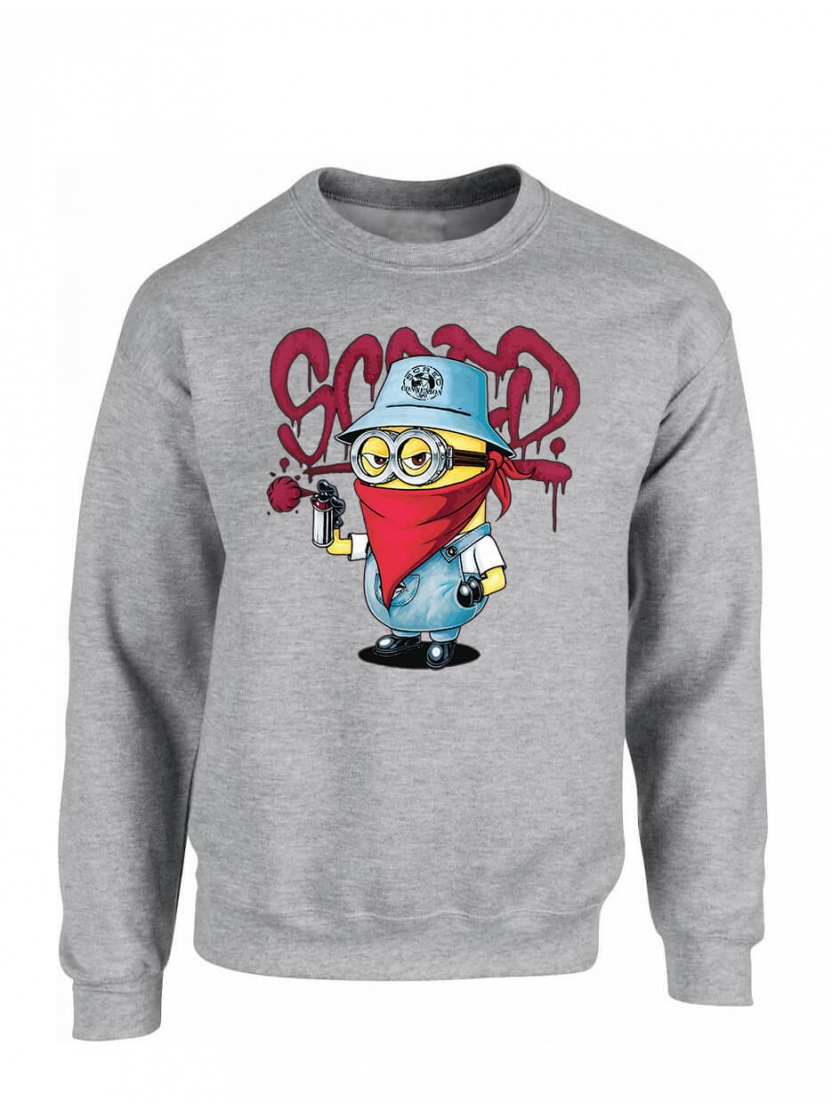 "sweat col rond "" Mini scred"" Gris"