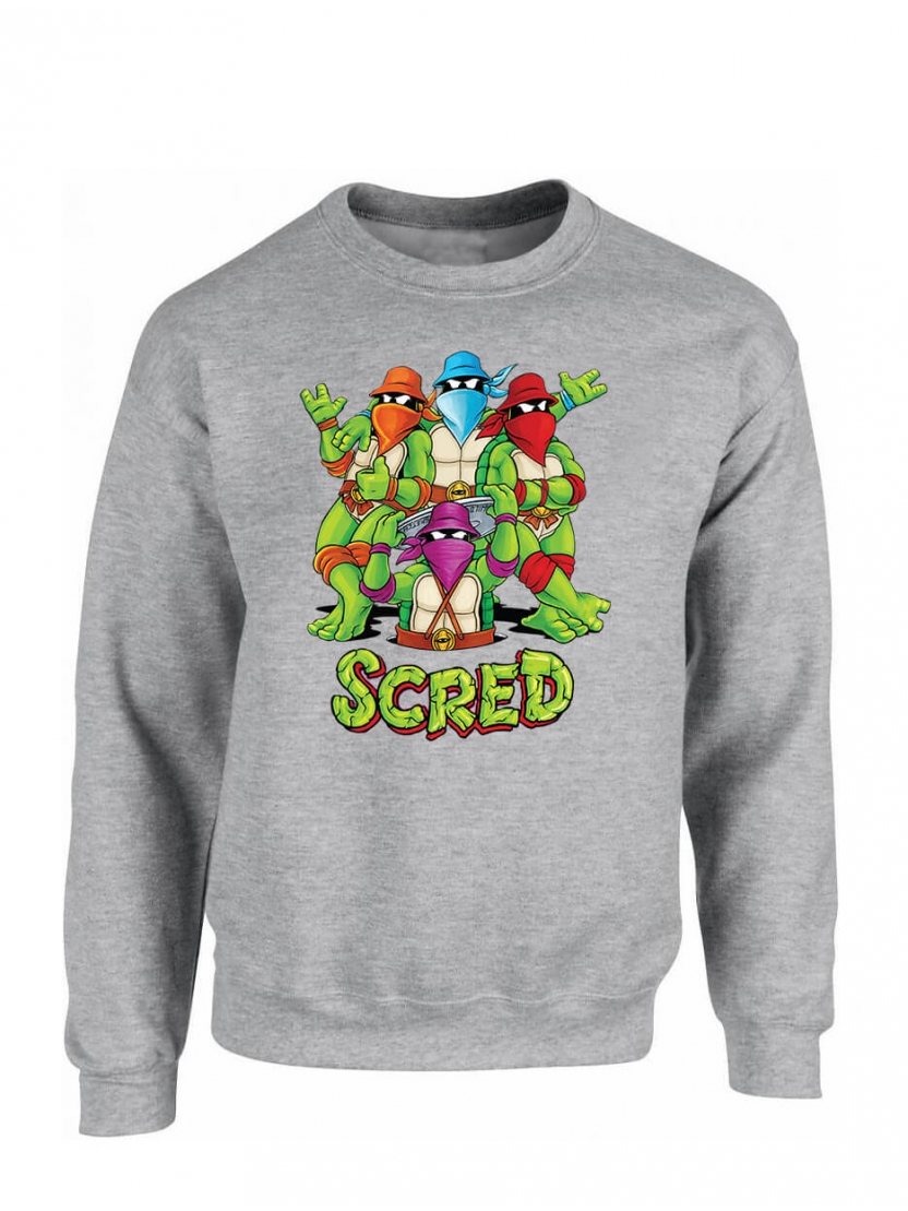 "Sweat Col rond ""Scred Turtles"" Gris"