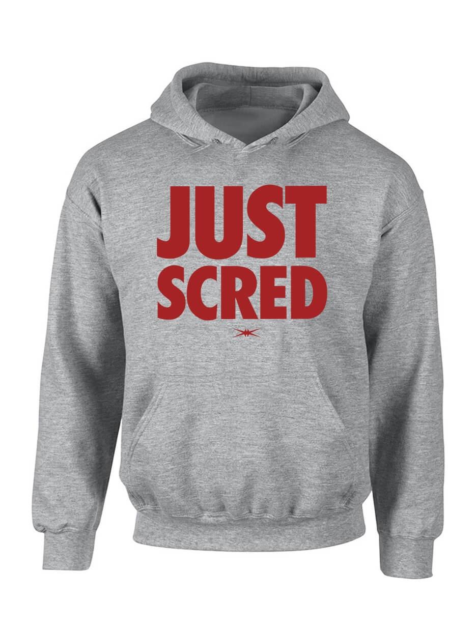 """Sweat Capuche """"Just Scred"""" Gris logo bordeaux"""