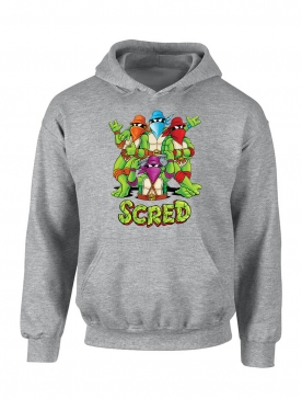 "Sweat Capuche ""Scred Turtles"" gris"