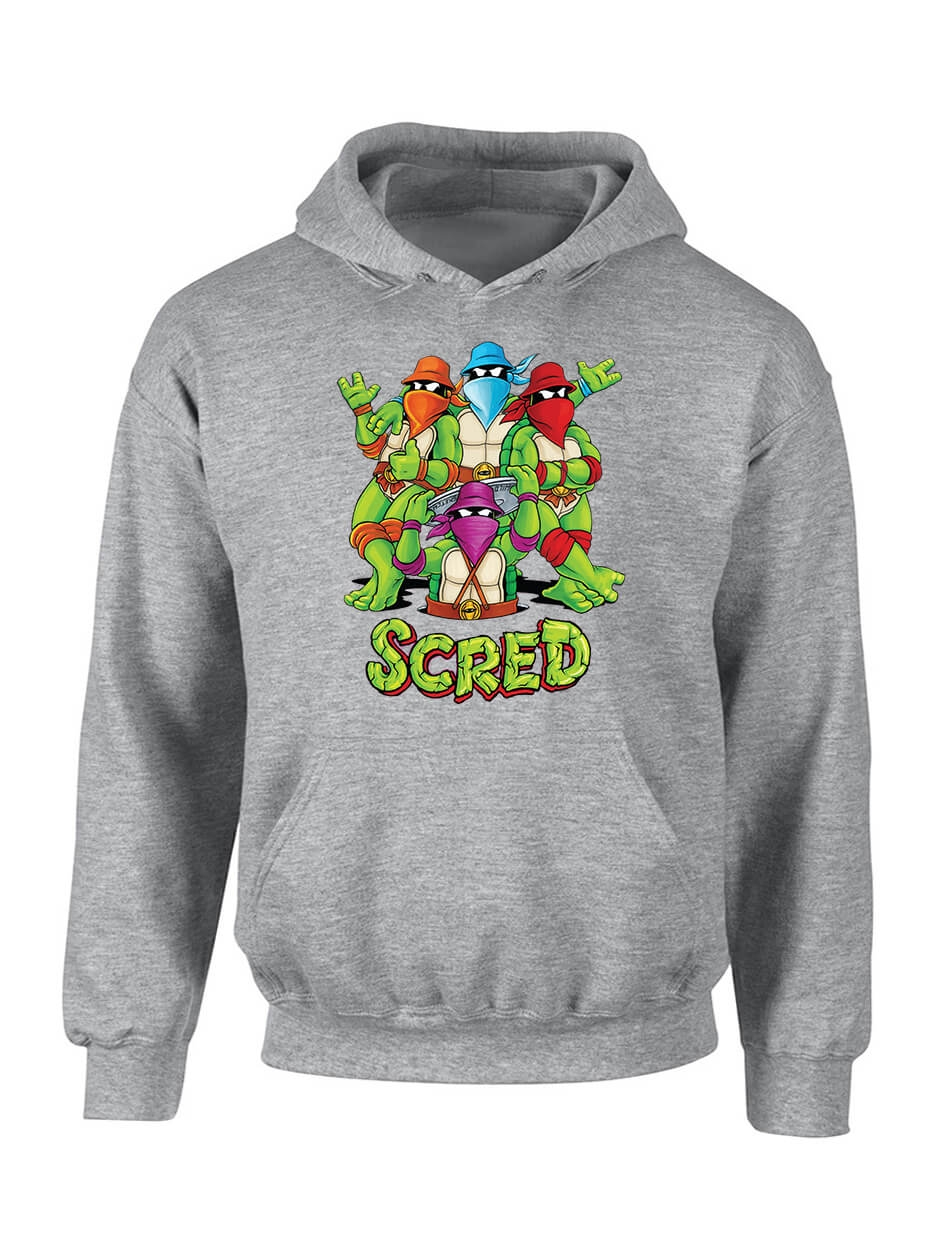 """Sweat Capuche """"Scred Turtles"""" gris"""