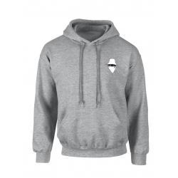 "sweat capuche ""dernier visage "" gris logo blanc"