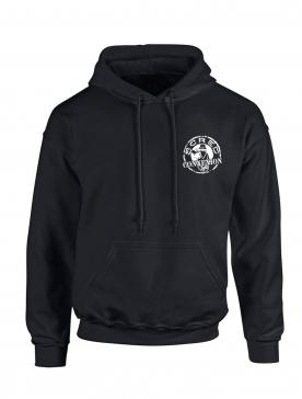 """sweat capuche """"jamais dans la tendance"""" noir logo blanc"""