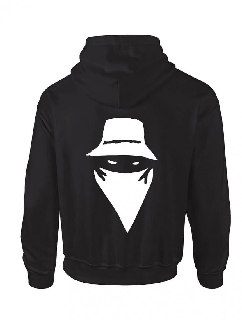 """sweat capuche """"Visage"""" noir logo blanc"""