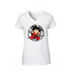 "T-Shirt Femme Logo ""Scred Goku"" Blanc"
