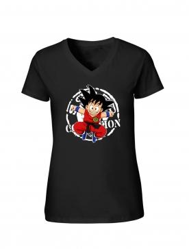 """T-Shirt Femme Logo """"Scred Goku"""" Noir"""