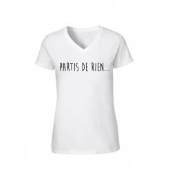 "T-Shirt Femme Logo ""Partis de rien"" Blanc"