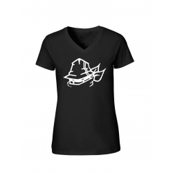 "T-Shirt Femme Logo ""Tête Marche en Scred"" Noir"