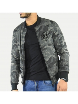 Bombers Military Gris Scred Connexion Visage noir