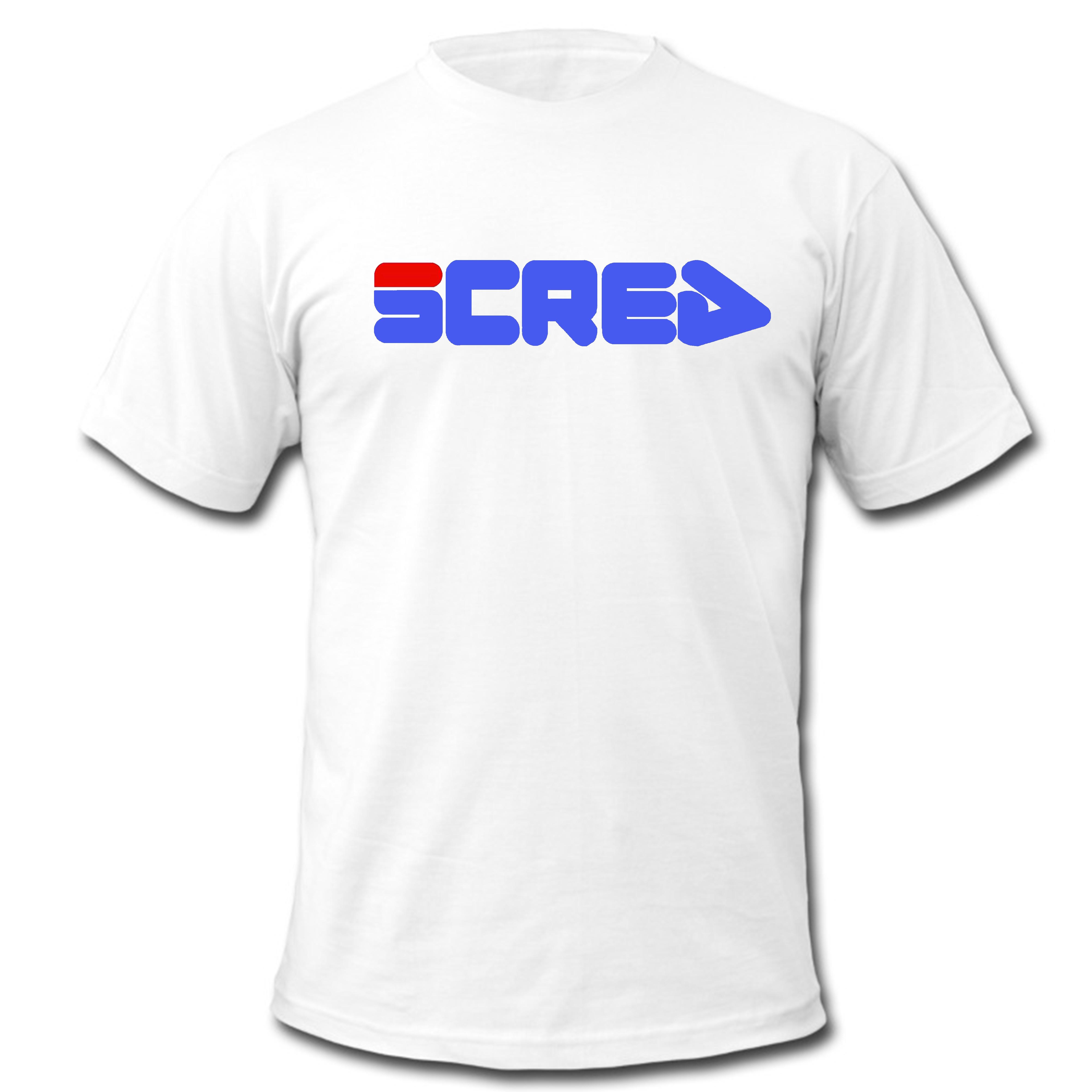 "Tee Shirt ""Scred filou "" blanc logo bleu"