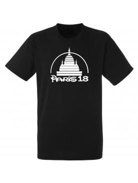 "tee shirt ""paris 18"" noir logo blanc"
