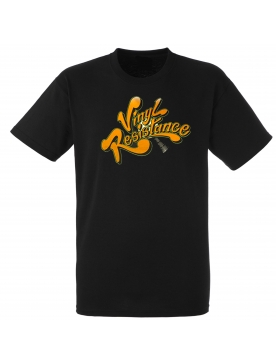 "tee-shirt ""vynil resistance"" noir logo orange"