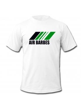 """tee shirt """"Air Barbès """" blanc logo noir et vert"""