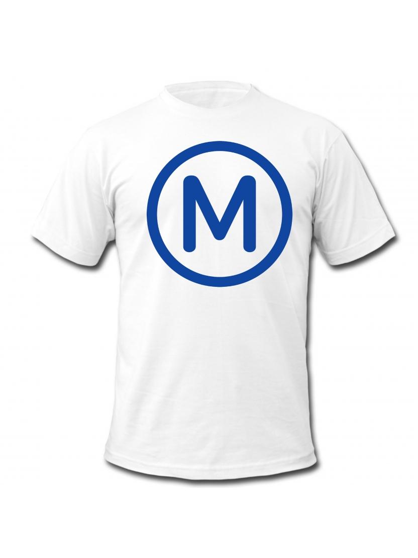 """tee shirt """"Metro """" blanc logo noir"""