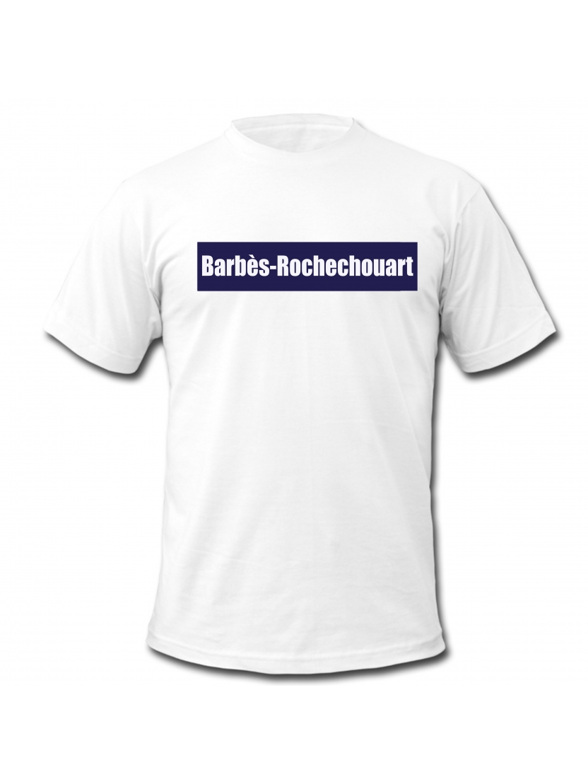 "tee shirt ""station Barbès"" blanc"