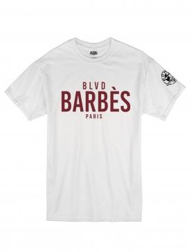 """T -Shirt """"BLVD"""" blanc logo Burgundy"""