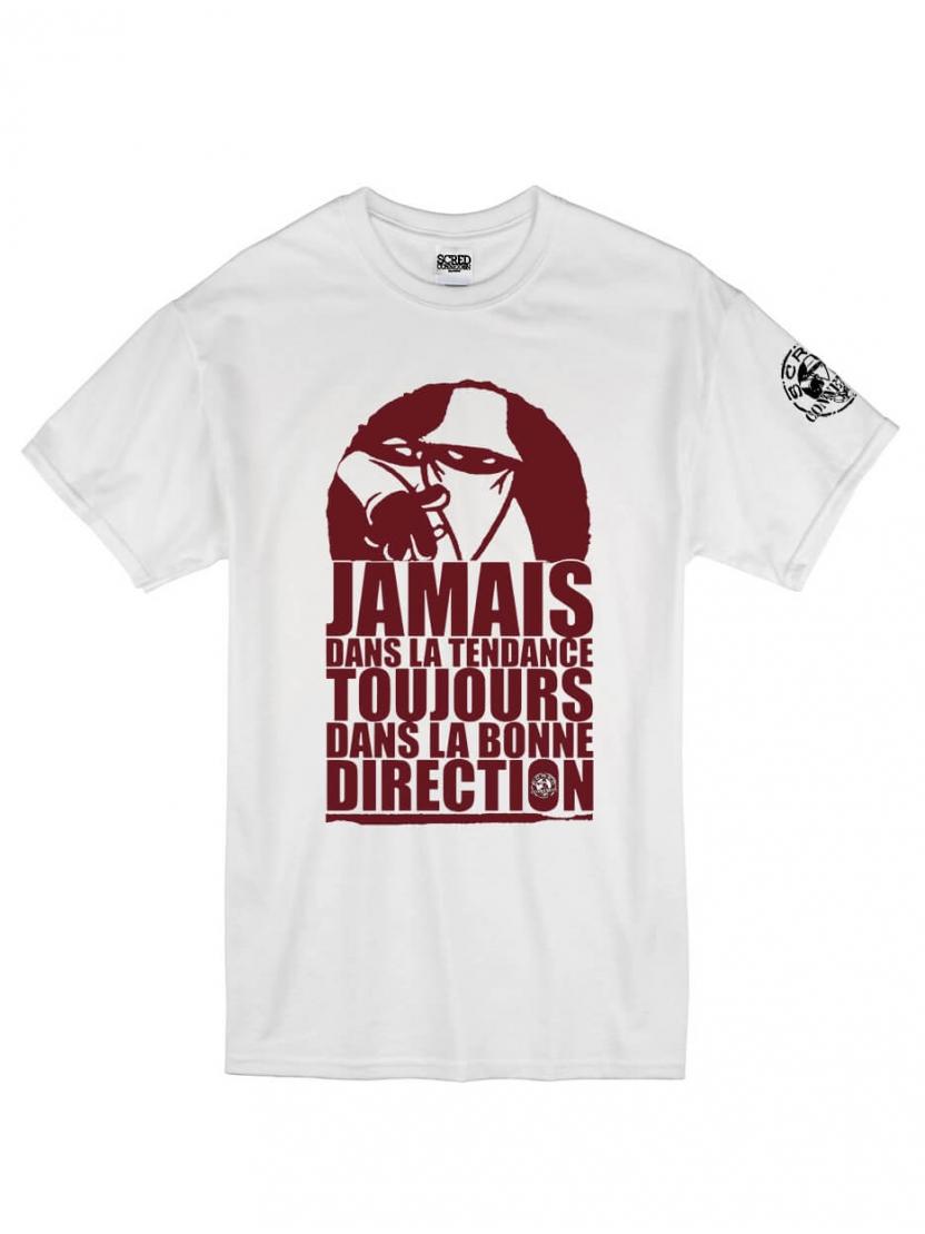 "tee shirt ""Jamais dans la tendance"" blanc logo Burgundy"