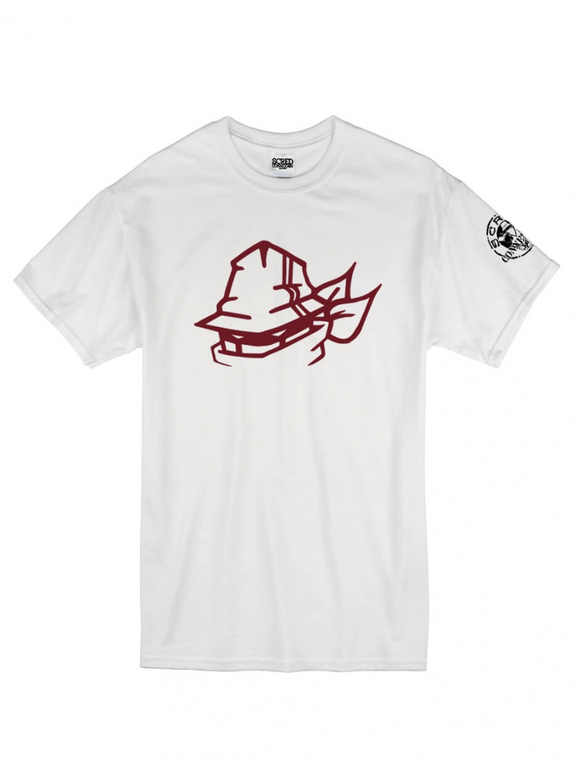 "T-Shirt Logo ""Tête Marche en Scred"" blanc logo Burgundy"