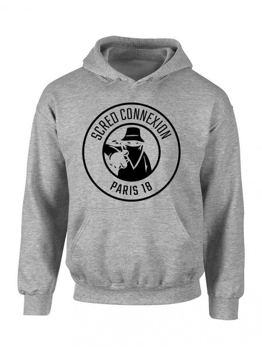 """Sweat Capuche """"Classico 18"""" Gris logo Noir"""